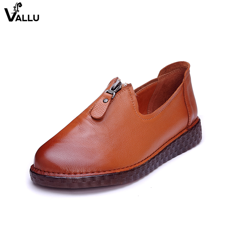 Upper Zipper Design Women Flats Handmade Genuine Leather Lady Flat Shoes Comfortable Round Toe Female Leisure Shoes New trendy women s flat shoes with round toe and tassels design