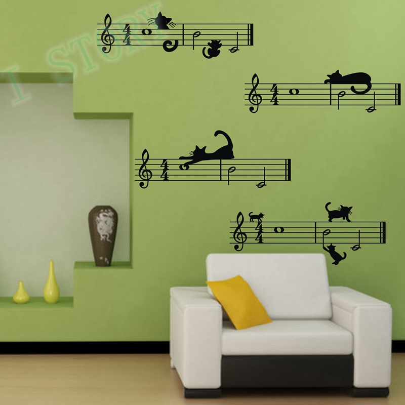 Wall Sticker Music Notes With Cats Removable Vinyl Decal Stickers Diy Decoration In From Home Garden On Aliexpress
