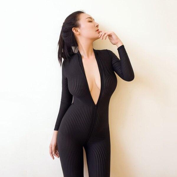 Zogga 2019 Sexy black and white stripe sheath smooth fiber 2 zipper long sleeve connected set lace bodysuit