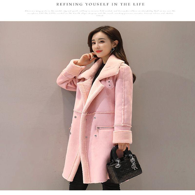 eff496776a Agneaux Peau De Suede Femme Cuir Moyen D'hiver Veste B Argent Laine pink Nouvelle  Faux gris Femmes Manteaux ...