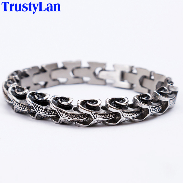 Trustylan Cool Stainless Steel Dragon Grain Man Bracelets For Men Punk Rock Keel Mens