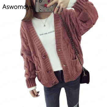 Весенний свитер кардиган женский твист свободный свитер толстый длинный рукав однобортный с карманом