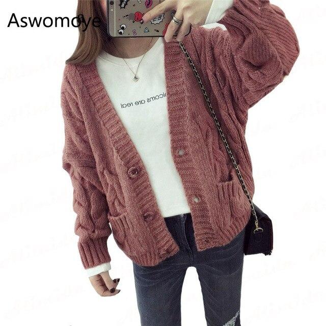 Женский свитер-кардиган на весну; свитер свободного кроя с длинными рукавами; однобортный свитер с карманом