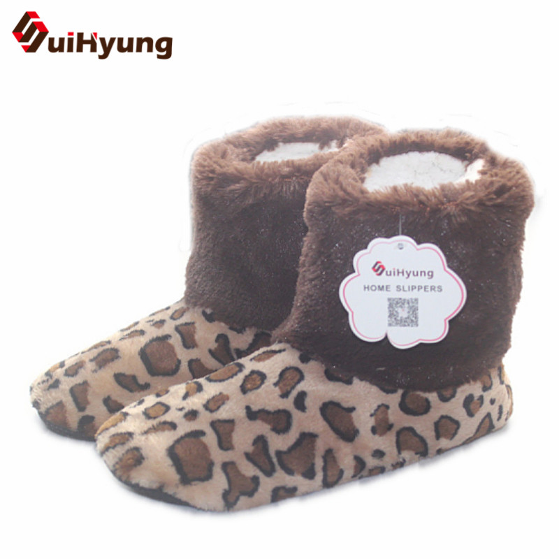 Winter Women Warm Cotton Slippers Furry Soft Plush Shoes Non-slip Home Indoor