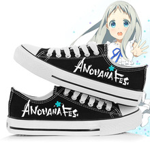 Anime Anohana Fes Canvas Shoes Unisex Mens Letters Printed Lace Up Cartoon Shoes Free Shipping
