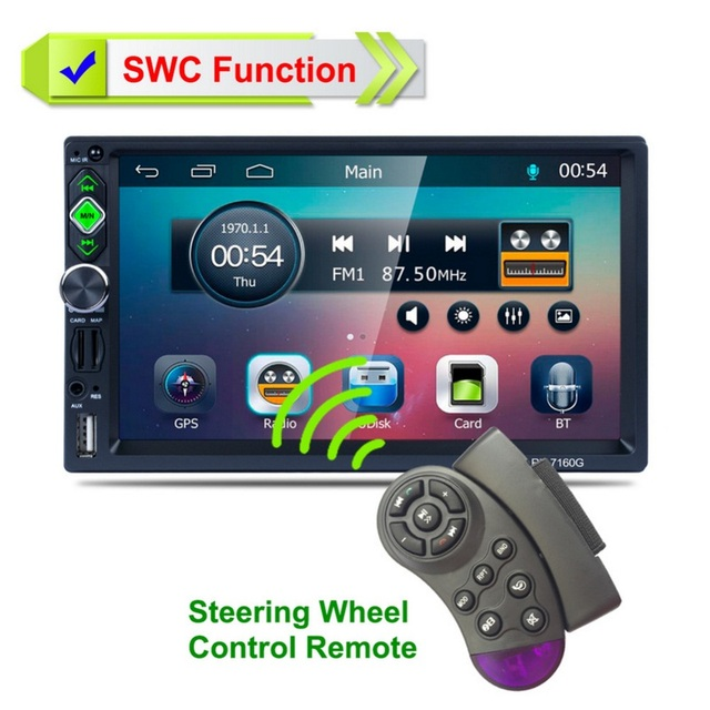 Car MP3 MP4  Player Full IR Remote Control Car FM Transmitter GPS Navigation System Steering Wheel Rear View Camera Vehicle Play