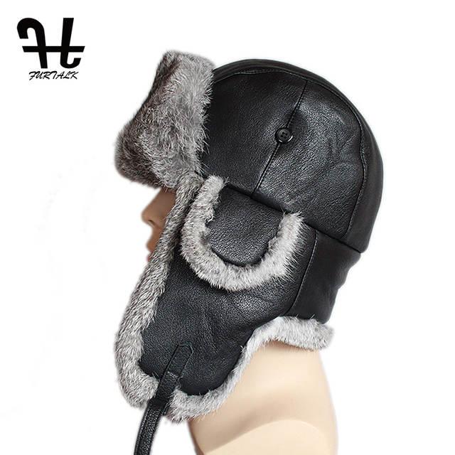e437fb72163 placeholder Furtalk Mens Lamb Sheep Leather Rabbit Russian Fur Hat dad hats  winter soviet fur Ushanka trapper