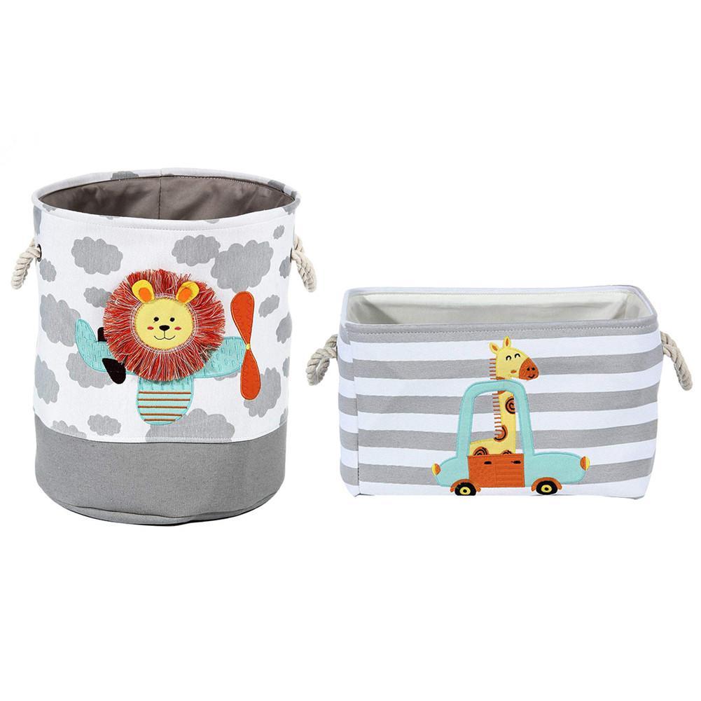 Cesto Dobrável de Lavanderia para Roupas Sujas – Serve como cesto de Brinquedos – Organizador - Leão e Girafa 5