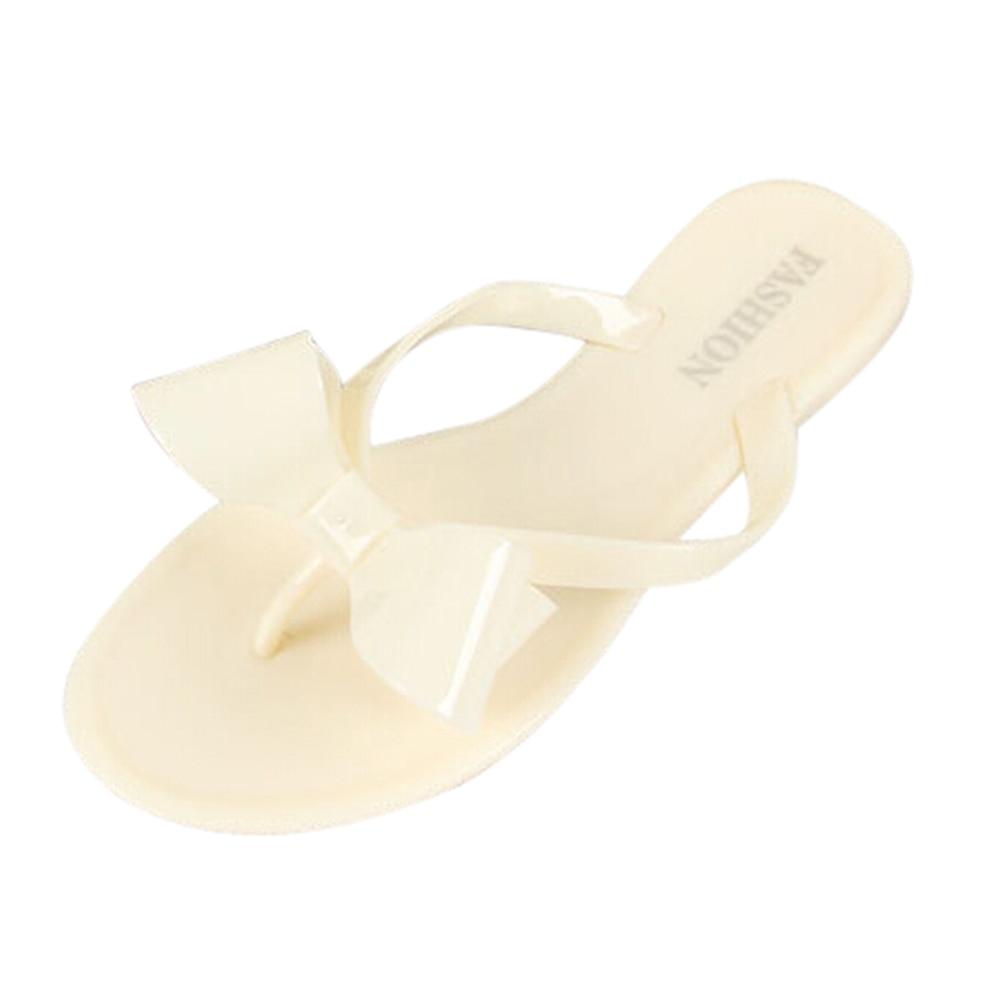 Women's Sandals Summer Beach fashion women's bow flat heel flip flops beach slippers flip female shoes size6 beige asds women s summer women s bow flat heel flip flops beach slippers flip female shoes beach fashion pink
