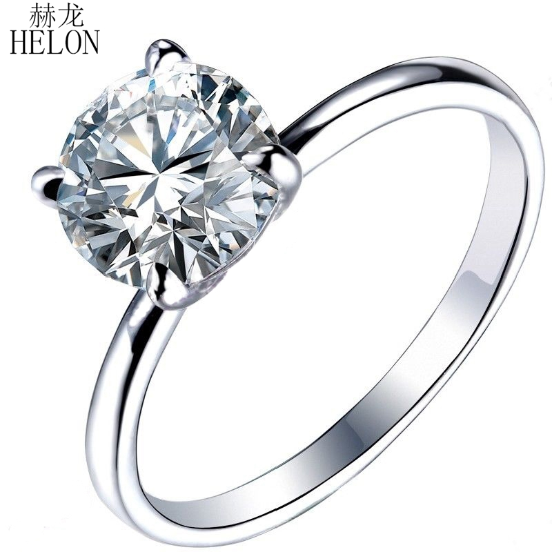 HELON Solid 14KT White Gold Moissanite Ring 1.5CT Engagement Ring Test Positive Moissanites Diamond Wedding Jewelry For Women helon 1 25ct test positive lab grown moissanite engagement rings 10k solid white gold 0 06ct diamonds jewelry for women wedding