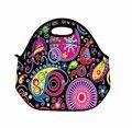 Colorful Hippy Moda Duplas Neoprene Lunch Tote Bag Picnic Cool Bag Bag Bolsa Bolsa Caso com Zip & Alças