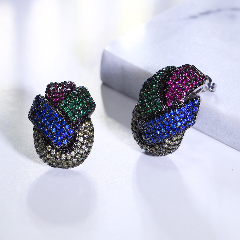 Fashion Colorful Jewelry Earring Micro Pave Multi Color Cubic Zirconia  Crystal Orecchini Big Stud Earrings Top Quality Jewellery