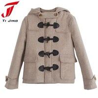 Autumn Winter Women Classic Horn Button Coat Women S Outerwear Light Camel Fashion Hooded Loose Woolen