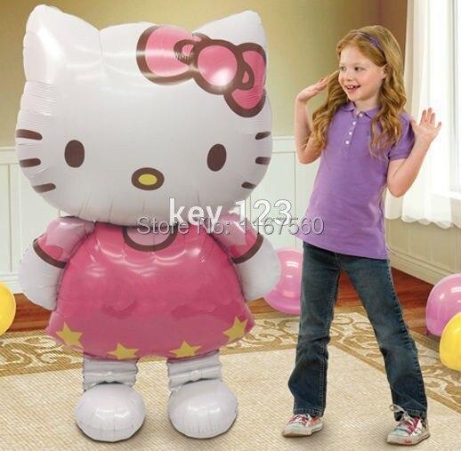free shipping 116 68cm large cartoon Hello Kitty cat birthday wedding party decoration foil helium balloons