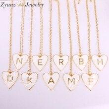 10 PCS, Gold Farbe Weiß Emaille mit Brief Anhänger Halskette Neue Partei Mode Schmuck für Frau