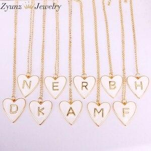 Image 1 - 10 PCS, Gold Farbe Weiß Emaille mit Brief Anhänger Halskette Neue Partei Mode Schmuck für Frau