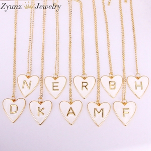Image 1 - 10PCS, Gold Color White Enamel with Letter Pendant Necklace New Party Fashion Jewelry for Woman