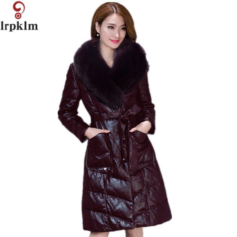 2016 New! Winter Faux Fur Coat Long Large Fur Collar Warm Thick PU Leather Jacket Women Plus Size Winter Jackets And Coats YY203 new winter coats women jackets large faux fur collar thick plus velvet ladies parka hooded jacket outwear s1083