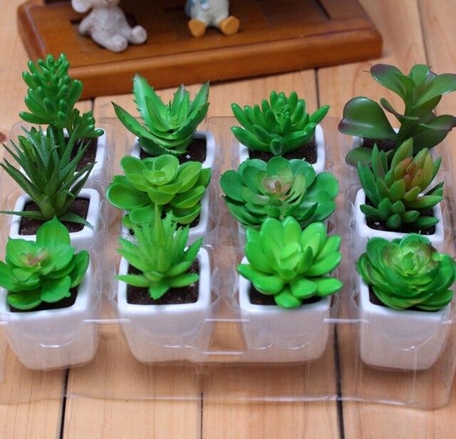 12pcs decorative flower pots planters artificial plants with vase Artificial Plants in Planters