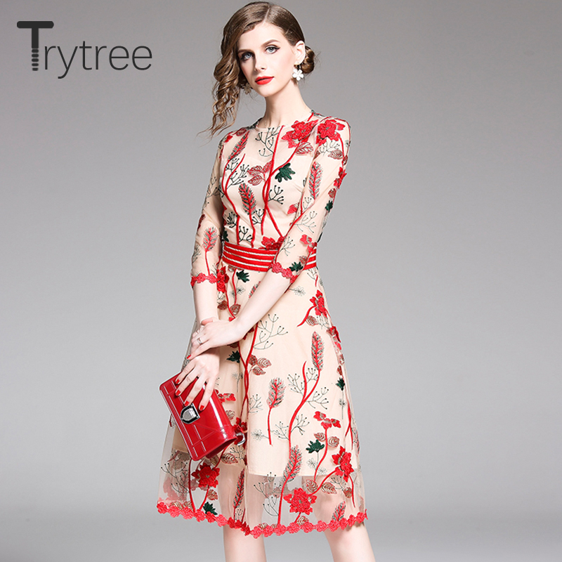 Trytree Summer Dress Embroidery Floral Mesh Casual Women Polyester Ruffled Sleeves And Hem Dresses Knee-Length High Street Dress