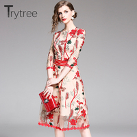 Trytree Summer Dress Embroidery Floral Mesh Casual women Polyester Ruffled Sleeves and Hem dresses Knee Length High Street Dress