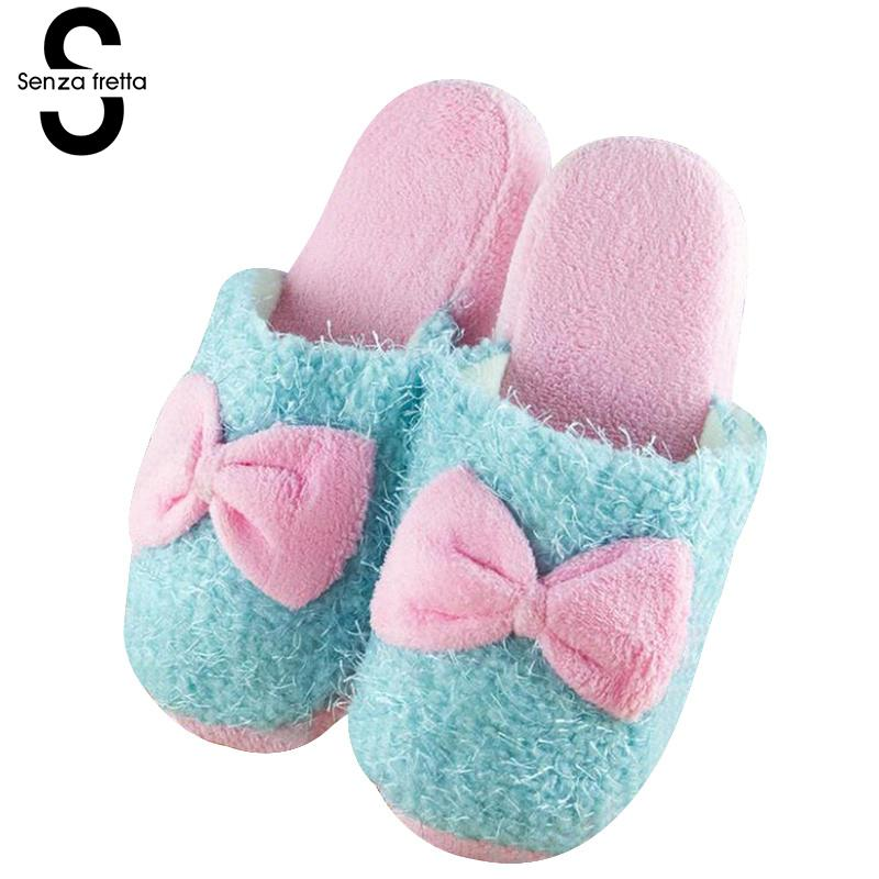 Senza Fretta Women Shoes Winter Warm Indoor Plush Slippers Butterfly Knot Soft Women Slippers Home Non-slip Beauty Women Slipper senza fretta women shoes new summer pvc slippers couples women anti slip home slippers indoor soft bottom women slippers