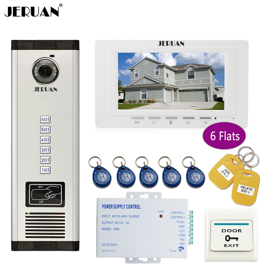 JERUAN luxury 7`` LCD Monitor 700TVL Camera Apartment video door phone 6 kit+Access Control Home Security Kit+free shipping ctr 09 single vertical axis associated with rib potentiometer a10k long 12 5mmf