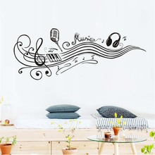 Music Notes Wall Stickers Removable Art Pvc Quote Diy Microphone Headphones Wall Sticker Vinyl Decal Mural Home Room Decor