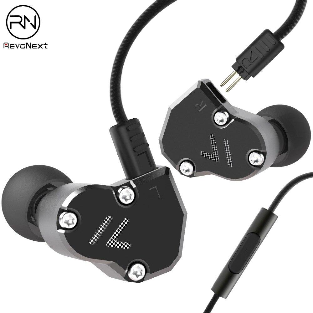 RevoNext QT2 In-Ear Earphone High Quality HiFi Sport Earbuds Auricular Metal Fever Heavy Bass Copper Shocking