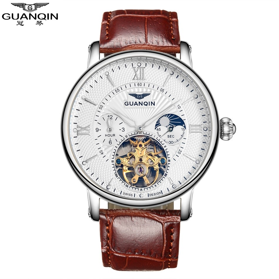 где купить 2017 NEW GUANQIN Men Watches Mechanical Wristwatches Leather Strap Watch 30m Waterproof Top Brand Watches Men Clock дешево