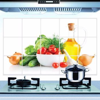 1PCS 75*45cm Kitchen Oilproof Removable Wall Stickers Aluminum foil Art Decor Home Decal Fruit oil stickers wall 801