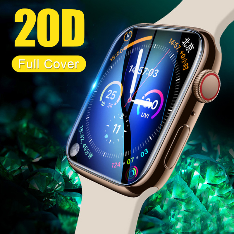 20D Curved Edge Tempered Glass On The For Iwatch 1 2 3 4 Screen Protective Glass For Apple Watch 38 40 42 44 Mm Protector Film