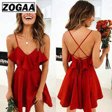 ZOGAA Summer Sexy Dress Women's 2019 Backless Cross Drawstring Ruffles Bundle Waist V-neck Strap Mini Dress Summer Red Vintage цена