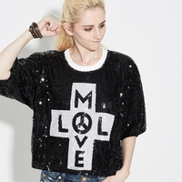 Sparkle Oversized Loose Women Letter Sequin T Shirt Top Bling Glitter Casual Clubwear Hip Hop Half Sleeve Mesh Street T Shirt