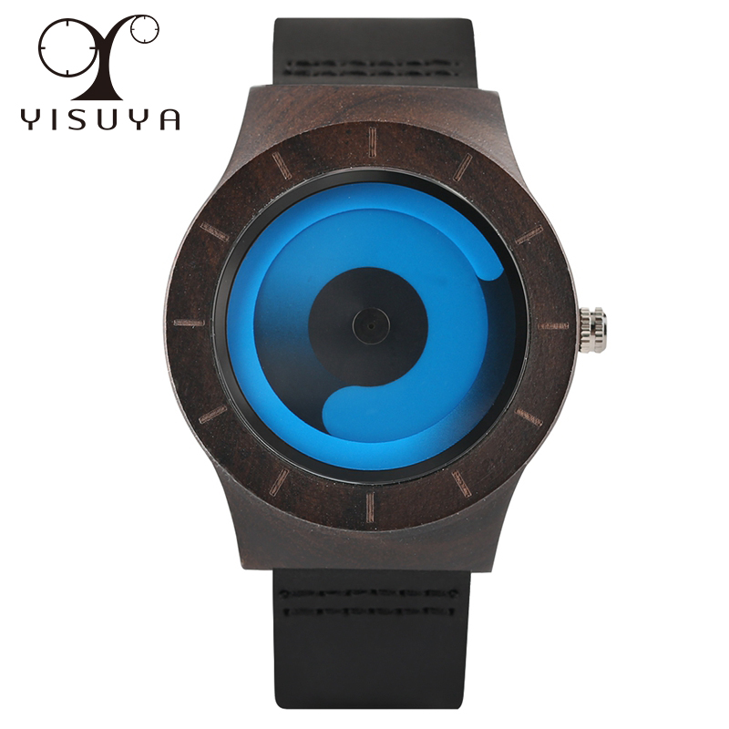 YISUYA Men Creative Unique Aurora Wrist Watches Quartz Wooden Watch Leather Band Strap Dress Sports Waterproof Unisex Hours Gift