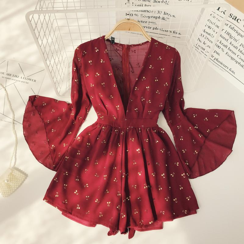 2018 New Fashion Women's Jumpsuits Retro Red Flare Sleeves High Waist Holiday Wide Leg Jumpsuit Rompers