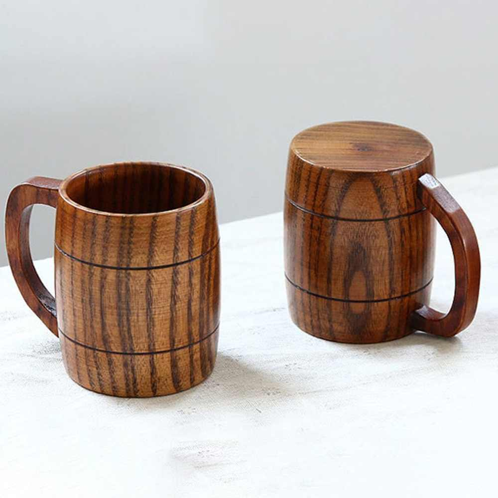 Handmade Solid Coffee Mug Beer Mug With Handle Pure Copper Moscow Mule Mugs With Large Capacity Wooden Cup Drinkwares