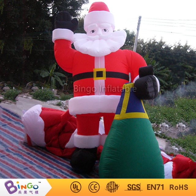 Free Shipping Christmas garden decoration toys inflatable santa with gift bag