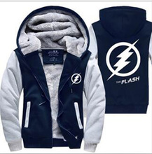 Men The Flash Jackets 2017 autumn winter casual fleece Coat Anime Justice League Hooded Thicken Zipper Sweatshirt tracksuit down