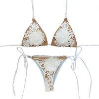 White Lace Floral Bikini Appliques Women Vintage Biquini Slim Strappy Swimsuit Bandage Halter Monokini Bathing Suits