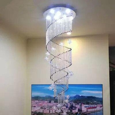 Modern Spiral K9 Crystal LED Ceiling Lights Large Staircase Indoor GU10LED Long Stair Ceiling lamps Lighting FixturesModern Spiral K9 Crystal LED Ceiling Lights Large Staircase Indoor GU10LED Long Stair Ceiling lamps Lighting Fixtures