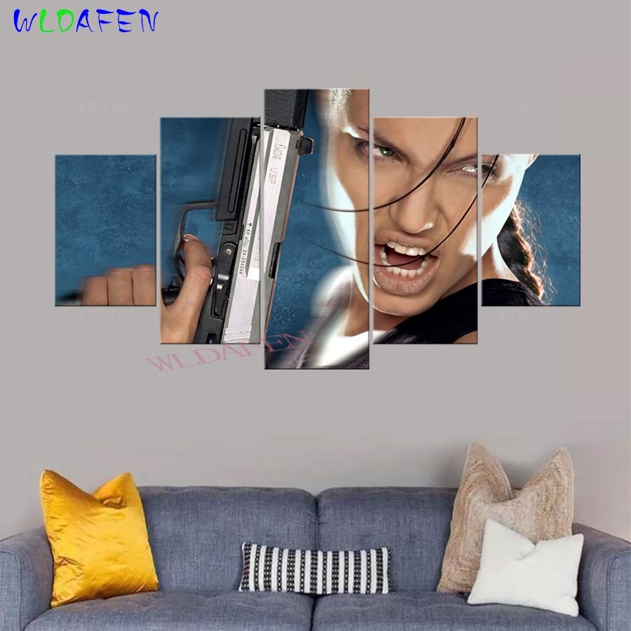 5 Pieces Hd Print Lara Croft Tomb Raider The Cradle Of Life Movie