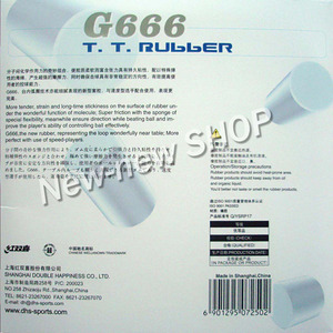 Image 3 - DHS G666 (G 666, G 666) Pips In Table Tennis (PingPong) Rubber with Sponge