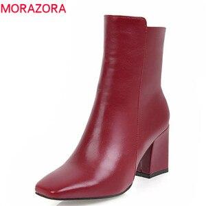 Image 1 - MORAZORA 2020 חדש אופנה קרסול מגפי נשים כיכר טו סתיו חורף מגפי פשוט רוכסן מגפי עקבים גבוהים שמלת נעליים אישה