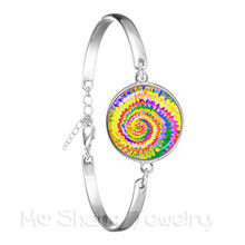 Brilliant Colors Combination Pattern 18mm Glass Dome Bracelet Handmade Creative Gift Bohemia Bangle LILLY(China)