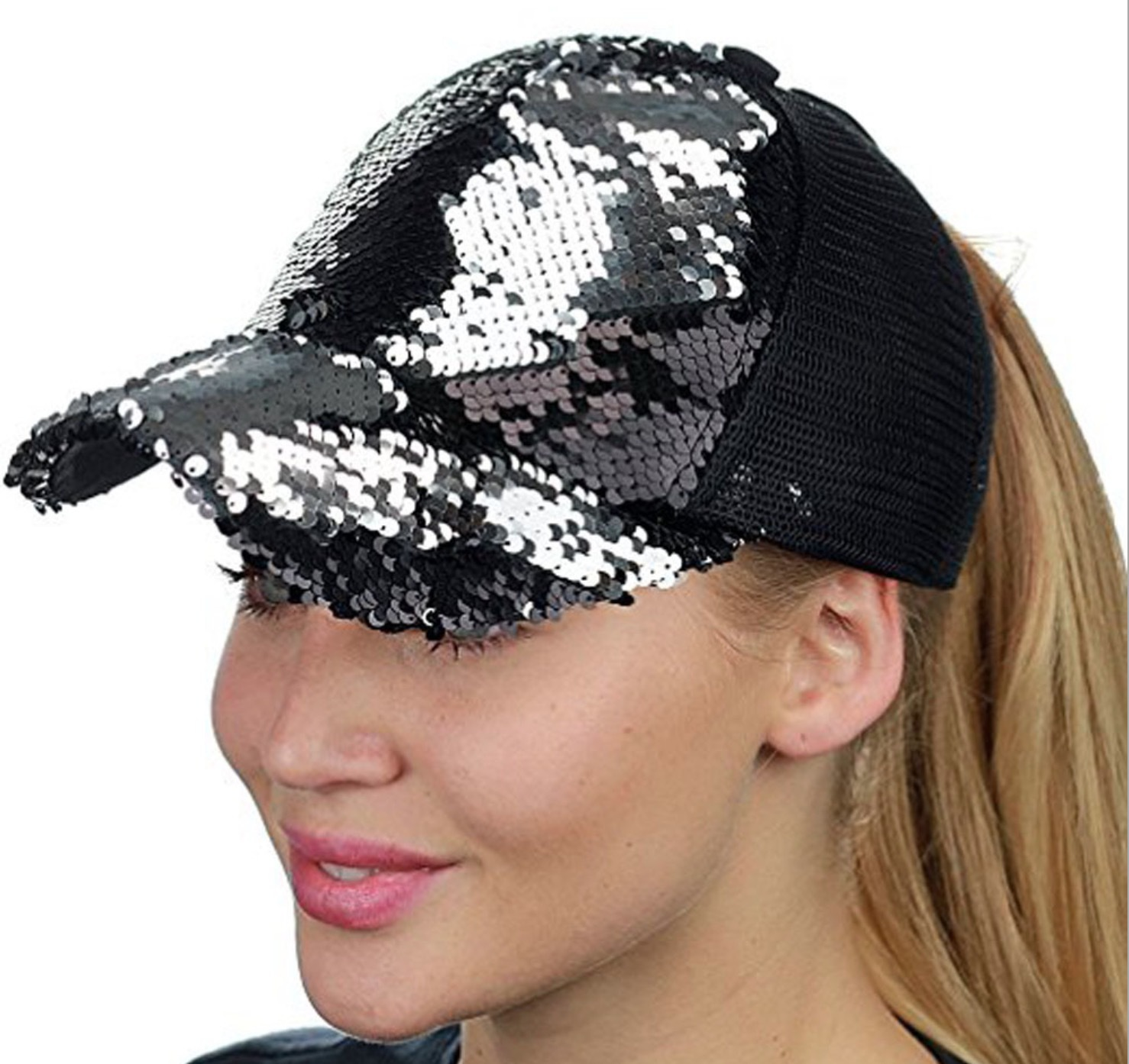 Women Baseball Cap Adjustable Sequins Peaked Cap Sports Casquette Hat -MX8
