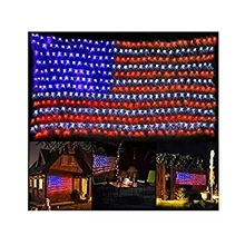American Flag 420 LED String Lights Large USA Outdoor Waterproof Hanging Ornaments for Independence Day,Memorial Day
