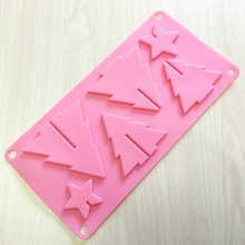 Hot sale(1pc/lot) Xmas Silicone Chocolate Mold 4 Christmas Tree + 2 Star Fondant Candy Biscuit Mold Baking Tool
