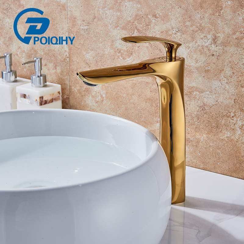 POIQIHY Deck Mounted Single Handle Basin Vanity Sink Faucet Golden Brass Bathroom Lavatory Sink Mixer Taps basin faucet brass golden white paint bathroom faucet single handle vanity sink deck retro ceramics mixer water tap crane qx9004