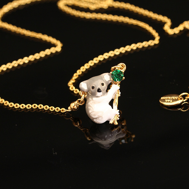 LES Nereides Animal Series Koala Enamel Glaze Resin Necklace Clavicle Chain Women Fashion Gold Plated Jewelry Free Shipping
